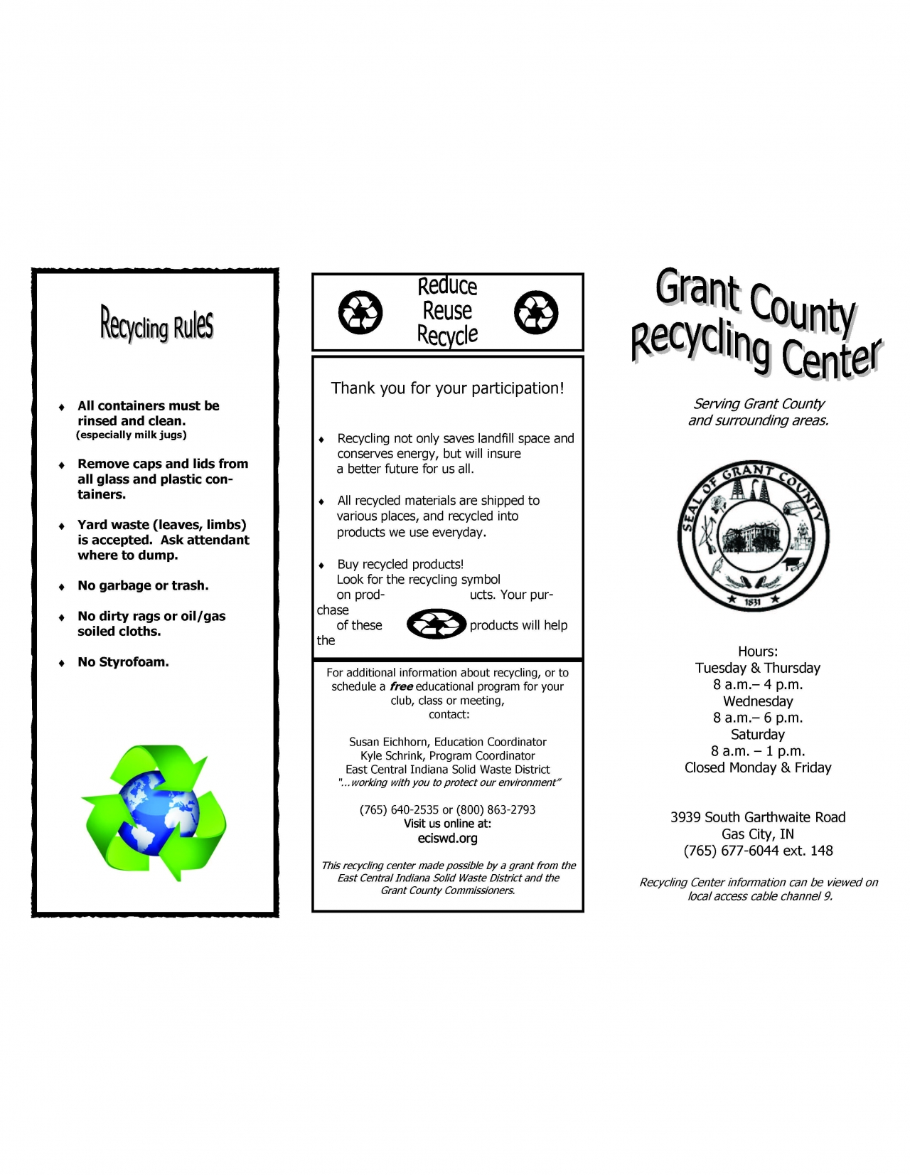 Recycle Brochure Page 1